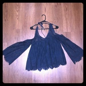 Navy blue lace top
